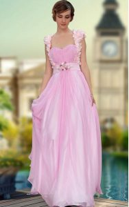 Chic Sweetheart Sleeveless Pageant Dress Wholesale Floor Length Belt and Hand Made Flower Rose Pink Satin