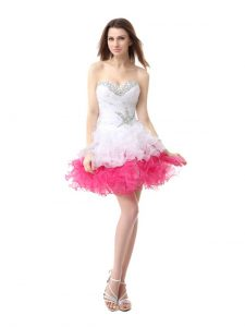 Flirting A-line Pageant Dress Wholesale Pink And White Sweetheart Organza Sleeveless Knee Length Lace Up