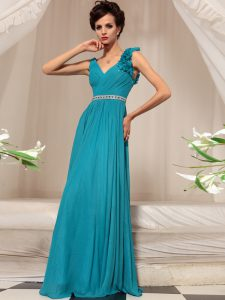 Free and Easy Chiffon V-neck Sleeveless Side Zipper Ruffles Pageant Dress for Teens in Teal