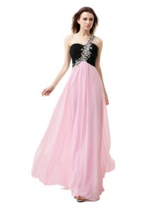 Lovely One Shoulder Floor Length Zipper Pageant Dresses Pink And Black for Prom with Beading and Appliques and Ruffles