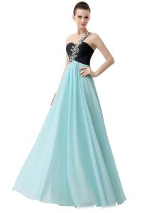 Unique Empire Pageant Dress for Girls Blue And Black One Shoulder Chiffon Sleeveless Floor Length Zipper