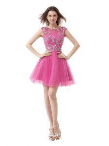 Admirable Scoop Beading and Sequins and Pleated Evening Gowns Rose Pink Zipper Cap Sleeves Mini Length