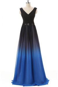 Hot Sale Blue And Black Empire V-neck Sleeveless Chiffon Brush Train Lace Up Beading Pageant Dress Wholesale