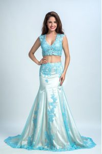 Best Selling Mermaid Blue And White Sleeveless With Train Beading and Pattern Zipper Winning Pageant Gowns