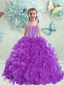 Straps Floor Length Ball Gowns Sleeveless Eggplant Purple Evening Gowns Lace Up