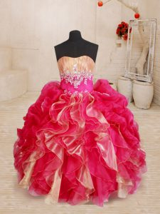 Simple Sleeveless Floor Length Beading and Ruffles Lace Up Pageant Dresses with Red