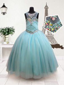 Scoop Aqua Blue Sleeveless Tulle Zipper Evening Gowns for Quinceanera and Wedding Party