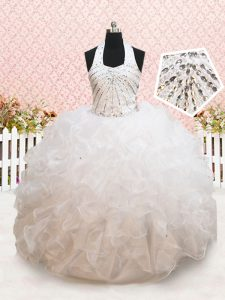 Halter Top White Lace Up Pageant Dress Wholesale Beading and Ruffles Sleeveless Floor Length