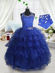 Halter Top Floor Length Lace Up Pageant Dress for Girls Royal Blue for Quinceanera and Wedding Party with Beading and Ruffled Layers