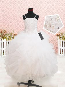 Strapless Sleeveless Organza Pageant Gowns Beading and Lace and Ruffles Zipper
