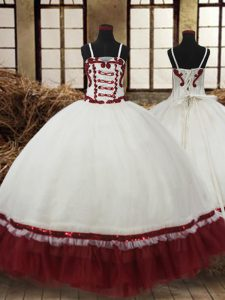 Elegant Straps Sleeveless Lace Up Pageant Dress Wholesale White and Wine Red Satin and Organza