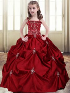 Stunning Wine Red Ball Gowns Beading and Pick Ups Pageant Dresses Lace Up Taffeta Sleeveless Floor Length