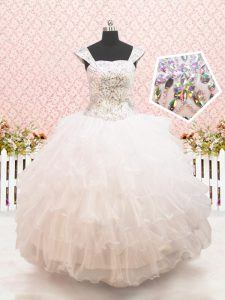 White Ball Gowns Organza Straps Cap Sleeves Beading and Ruffled Layers Floor Length Lace Up Pageant Dress for Girls