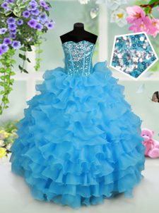 Cheap Sleeveless Organza Floor Length Lace Up Pageant Dress for Girls in Baby Blue with Beading and Ruffled Layers and Sequins