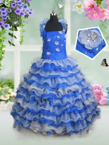 Affordable Blue And White Lace Up Halter Top Beading and Appliques and Ruffled Layers Pageant Dresses Organza Sleeveless
