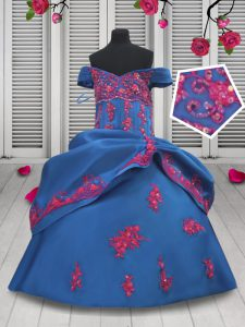 New Style Off the Shoulder Floor Length Blue Glitz Pageant Dress Taffeta Sleeveless Beading and Appliques and Pick Ups