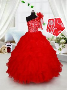 Organza One Shoulder Sleeveless Lace Up Beading and Ruffles and Hand Made Flower Little Girls Pageant Gowns in Red