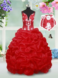Red Spaghetti Straps Neckline Beading and Pick Ups and Hand Made Flower Pageant Dress Toddler Sleeveless Lace Up