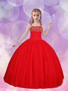 Gorgeous Straps Red Sleeveless Tulle Lace Up Pageant Dress for Teens for Quinceanera and Wedding Party