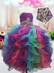 Multi-color Ball Gowns Beading and Ruffles High School Pageant Dress Zipper Organza Sleeveless Floor Length