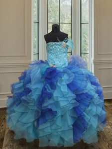 Blue Organza Lace Up Pageant Gowns Sleeveless Floor Length Beading and Ruffles