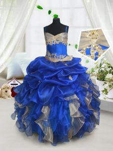 Pick Ups Ball Gowns Pageant Dresses Blue and Champagne Spaghetti Straps Organza Sleeveless Floor Length Lace Up