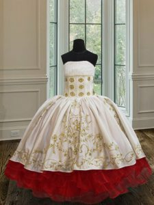 Ruffled Ball Gowns Pageant Dress Toddler White and Red Strapless Organza and Taffeta Sleeveless Floor Length Lace Up