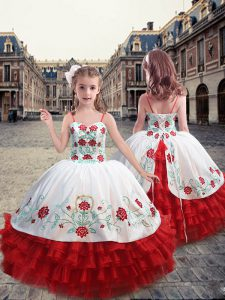Straps Sleeveless Organza Winning Pageant Gowns Embroidery and Ruffles Lace Up