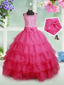 Low Price Halter Top Hot Pink Organza Zipper Pageant Dresses Sleeveless Floor Length Beading and Ruffled Layers and Bowknot