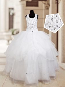 Sweet White Organza Lace Up Halter Top Sleeveless Floor Length Pageant Dress Beading and Ruffled Layers