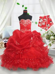 Custom Design Floor Length Lace Up Pageant Dress for Girls Red for Quinceanera and Wedding Party with Beading and Ruffled Layers and Sequins and Pick Ups