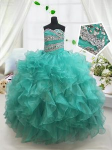 Turquoise Pageant Dress for Teens Quinceanera and Wedding Party with Beading and Ruffles Sweetheart Sleeveless Lace Up