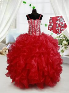 Sleeveless Floor Length Beading and Ruffles Lace Up Pageant Dresses with Red