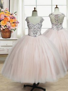 Most Popular Straps Floor Length Pink Pageant Dress for Womens Tulle Cap Sleeves Beading