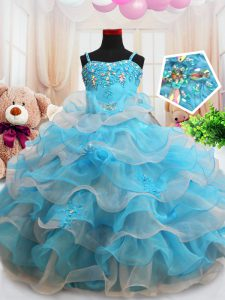 Straps Baby Blue Zipper High School Pageant Dress Beading and Appliques and Ruffled Layers Sleeveless Floor Length