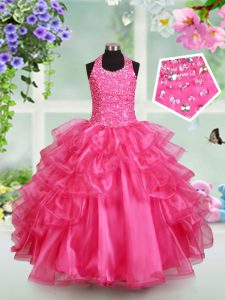 Custom Designed Halter Top Floor Length Hot Pink Little Girl Pageant Dress Organza Sleeveless Beading and Ruffled Layers