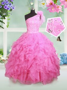Organza One Shoulder Sleeveless Lace Up Beading and Ruffles and Hand Made Flower Pageant Dress for Girls in Rose Pink