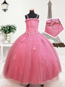 Straps Floor Length Hot Pink Pageant Dress for Teens Tulle Sleeveless Beading and Appliques