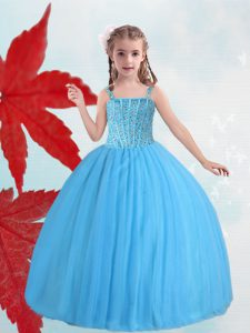 Super Straps Taffeta and Tulle Sleeveless Floor Length Pageant Dress for Teens and Beading
