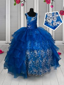 Royal Blue Ball Gowns Organza and Lace Scoop Sleeveless Beading and Lace and Ruffled Layers Floor Length Lace Up Pageant Dress for Womens