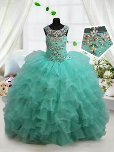 Scoop Sleeveless Organza Floor Length Lace Up Pageant Dress Toddler in Turquoise with Beading and Ruffled Layers
