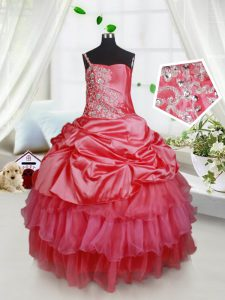 Elegant Sleeveless Lace Up Floor Length Beading and Ruffled Layers Pageant Dress