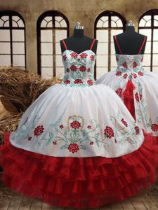 White and Red Ball Gowns Embroidery and Ruffled Layers Kids Pageant Dress Lace Up Organza Sleeveless Floor Length
