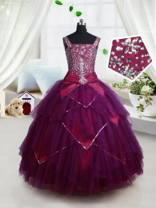 Elegant Dark Purple Little Girls Pageant Dress Quinceanera and Wedding Party with Beading and Ruffles and Belt Square Sleeveless Lace Up