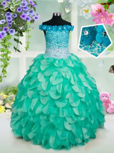 Top Selling Off the Shoulder Floor Length Turquoise Pageant Dress for Teens Organza Sleeveless Beading and Appliques and Ruffles