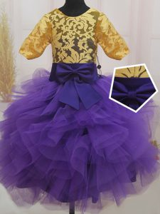 Eggplant Purple and Gold Scoop Neckline Lace and Ruffles and Bowknot Pageant Dress Wholesale Short Sleeves Zipper