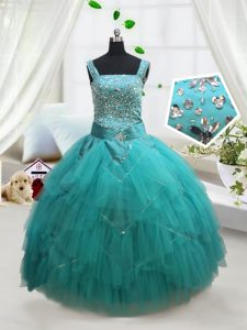 Turquoise Ball Gowns Square Sleeveless Tulle Floor Length Lace Up Beading and Ruffles and Belt High School Pageant Dress