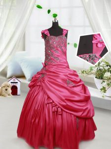 Hot Sale Straps Sleeveless Custom Made Pageant Dress Floor Length Beading and Appliques and Pick Ups Hot Pink Taffeta