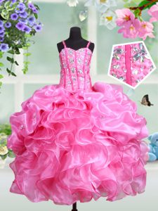 Straps Pick Ups Floor Length Ball Gowns Sleeveless Rose Pink Kids Formal Wear Lace Up