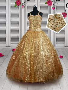 Straps Gold Sleeveless Beading and Sequins Floor Length Kids Formal Wear